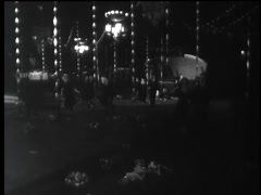 People dressed as zombies running at night, 1960s Stock Footage