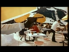 Gloved hand slowly aiming gun at people in restaurant, 1960s - stock footage