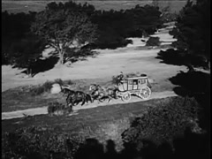 Wide angle view of coachman driving stagecoach on country road, 1940s Stock Footage