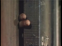 Close-up of fingers stuck in wooden door, 1940s Stock Footage