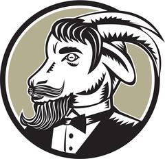 Goat Beard Tuxedo Circle Woodcut - stock illustration