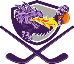 Dragon Fire Ball Hockey Stick Crest Retro Stock Illustration