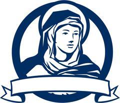 Blessed Virgin Mary Scroll Retro Stock Illustration