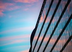 Sunset reflection in building. Budapest, Europe, - stock photo