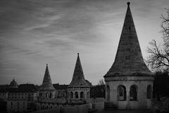 View on fisherman bastion towers. Budapest, Hungary. - stock photo