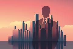 Double exposure business concept vector background. Businessman in front of Stock Illustration