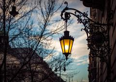 Street light at sunset in Budapest, Europe. - stock photo