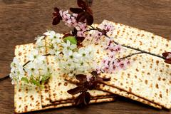 Pesach Still-life with wine and matzoh jewish passover bread Stock Photos