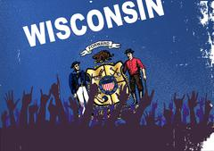 Wisconsin State Flag with Audience - stock illustration