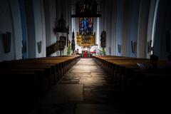 Interior of old church in Gdansk, Poland, Europe. - stock photo
