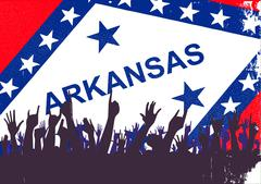 Arkansas State Flag with Audience - stock illustration