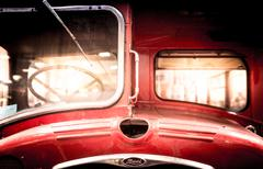 Front of a restored vintage double-decker bus. Stock Photos