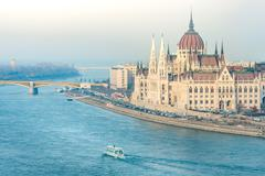Stock Photo of Parliament building in Budapest, Hungary, Europe.