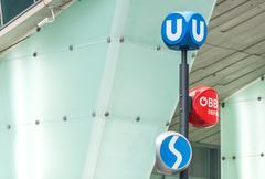 Public transport signs in Vienna, Austria - stock photo