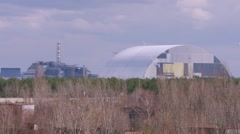 Time-lapse. New safe shelter over reactor in the Chernobyl nuclear power plant Stock Footage