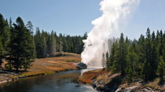 Riverside Geyser in Yellowstone Stock Footage