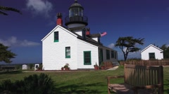 Point Pinos lighthouse, side view Stock Footage