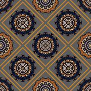 Ethnic oriental geometrical seamless pattern - stock illustration
