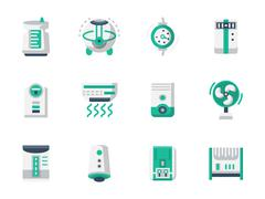 Climatic technics flat design vector icons set - stock illustration