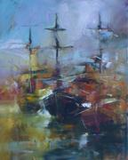 boats moored in the harbor handmade painting - stock illustration