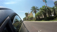 4K Driving on Las Vegas strip by Luxor Excalibur casino resort palm trees Arkistovideo