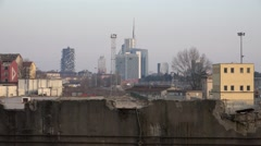 4K Modern business tower traditional building Milan cityscape skyline financial  Stock Footage
