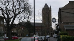 English church - St Marys Church and a clock, Ealing, London Stock Footage