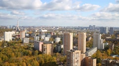 Apartment buildings in a residential area in the autumn day, top view Stock Footage