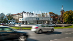 Timisoara. Traffic circle.  Compass fountain is in the middle of the square. - stock footage