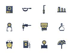 Stock Illustration of Flat color design measuring devices vector icons