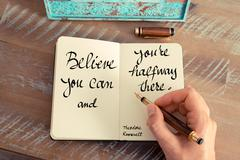 Believe you can and you're halfway there – Theodore Roosevelt - stock photo