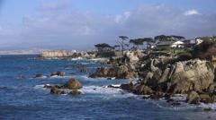 Scenic Pacific Grove, Monterey coastline Stock Footage