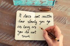 It does not matter how slowly you go as long as you do not stop - stock photo
