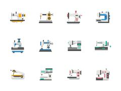 Modern flat design sewing equipment vector icons Piirros