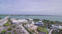 Aerial of Miami Neighborhood, Aquarium, & Ocean Stock Footage