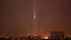 Rays moves around Ostankino Tower during Festival Circle of Light. Stock Footage