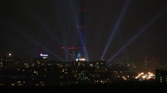 Ostankino tower surrounded by rays during Festival Circle of Light. Stock Footage