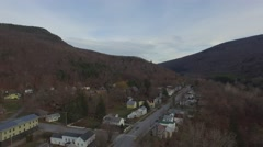 Aerial flyover of the town of Bristol, Vermont, 4K UHD Stock Footage