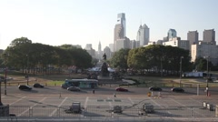 Area Eakins Oval and Benjamin Franklin Parkway in Philadelphia, USA Stock Footage