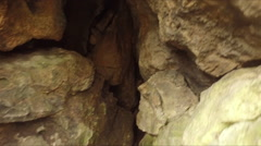 looking inside neolithic caves - stock footage