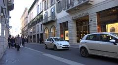 4K Famous Monte Napoleone Street  Milan town Montenapoleone shopping area iconic Stock Footage