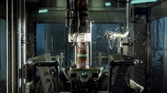 Packaging machine at the modern dairy factory Stock Footage