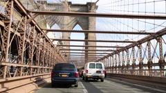 Movement along Brooklyn Bridge - one of the oldest suspension bridges Stock Footage