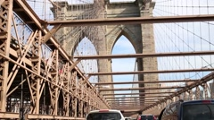 View of the Brooklyn Bridge from a moving car. Stock Footage
