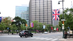 Benjamin Franklin Parkway and Strayer University Center City Campus Stock Footage