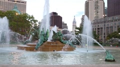 Swann Memorial Fountain and City Hall Tower in Philadelphia, USA Stock Footage