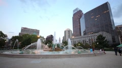 Swann Memorial Fountain against the City Hall Tower and buildings Stock Footage
