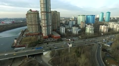 Aerial view of Moscow Shcukino district with residential complex Alye Parusa Stock Footage