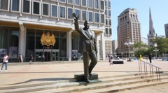 Statue of former Mayor Frank Rizzo near Municipal services building Stock Footage