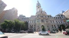 City Hall on a sunny day. Philadelphia City Hall is Historic Landmark Stock Footage